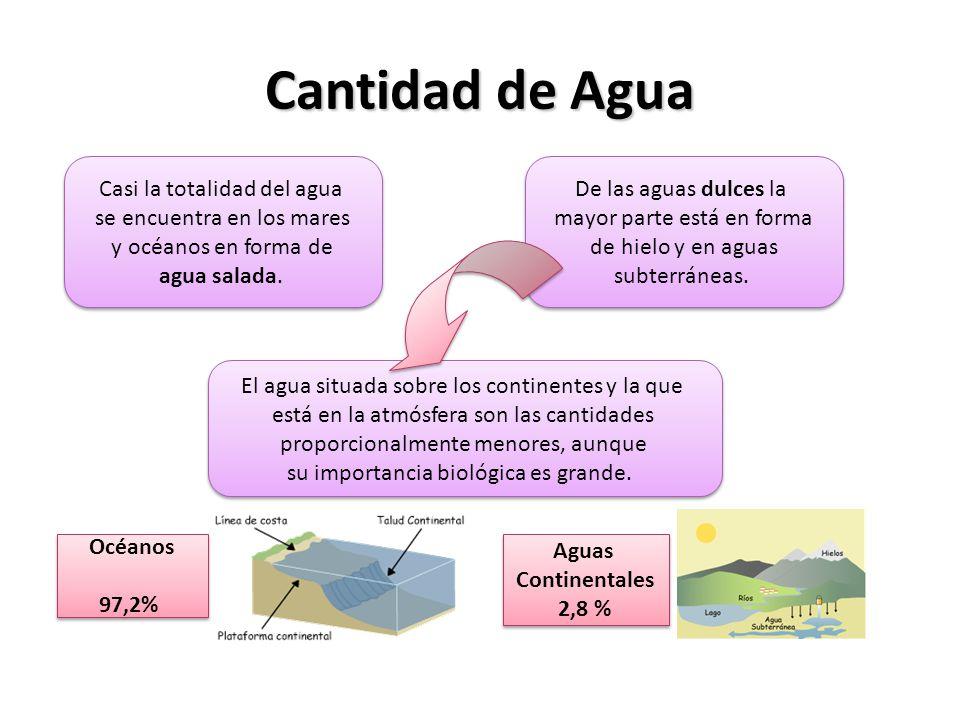 Cantidad de Agua Casi la totalidad del agua se encuentra en los mares