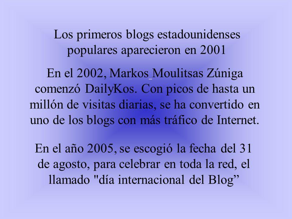 Los primeros blogs estadounidenses populares aparecieron en 2001