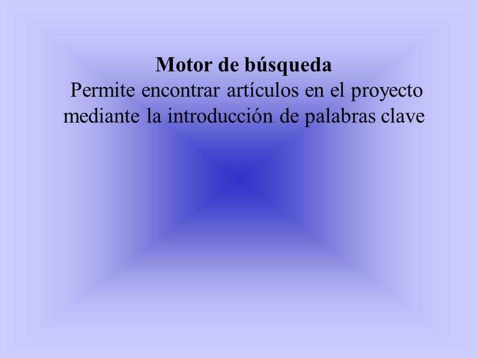 Motor de búsqueda Permite encontrar artículos en el proyecto mediante la introducción de palabras clave.