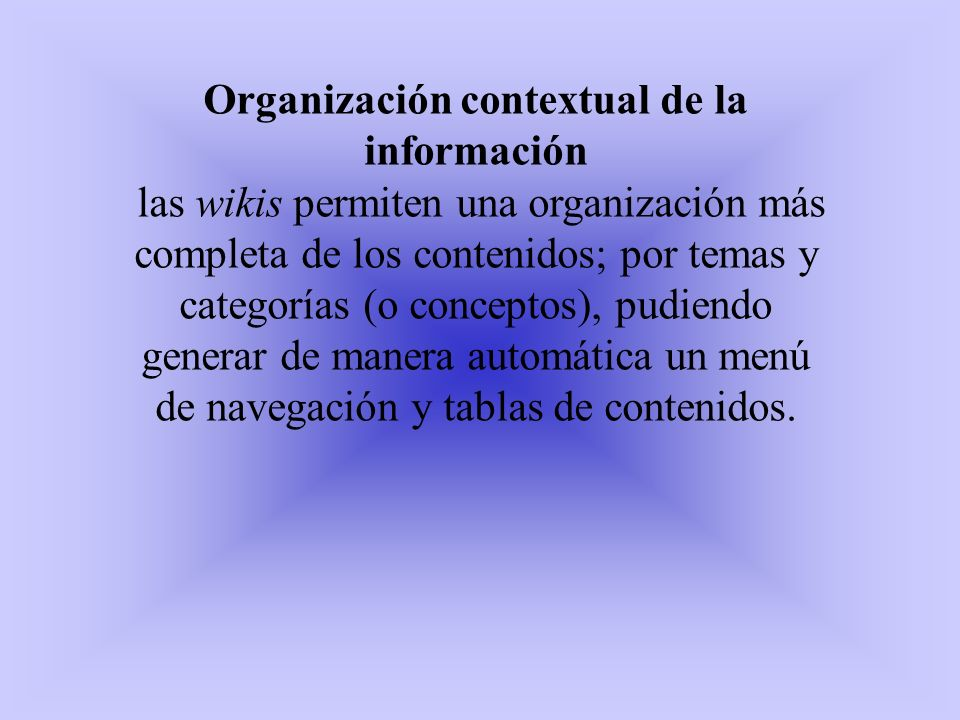 Organización contextual de la información