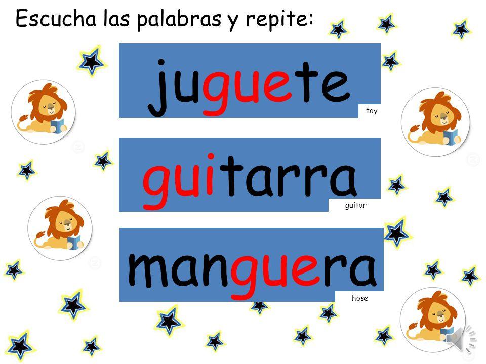 juguete guitarra manguera Escucha las palabras y repite: toy guitar