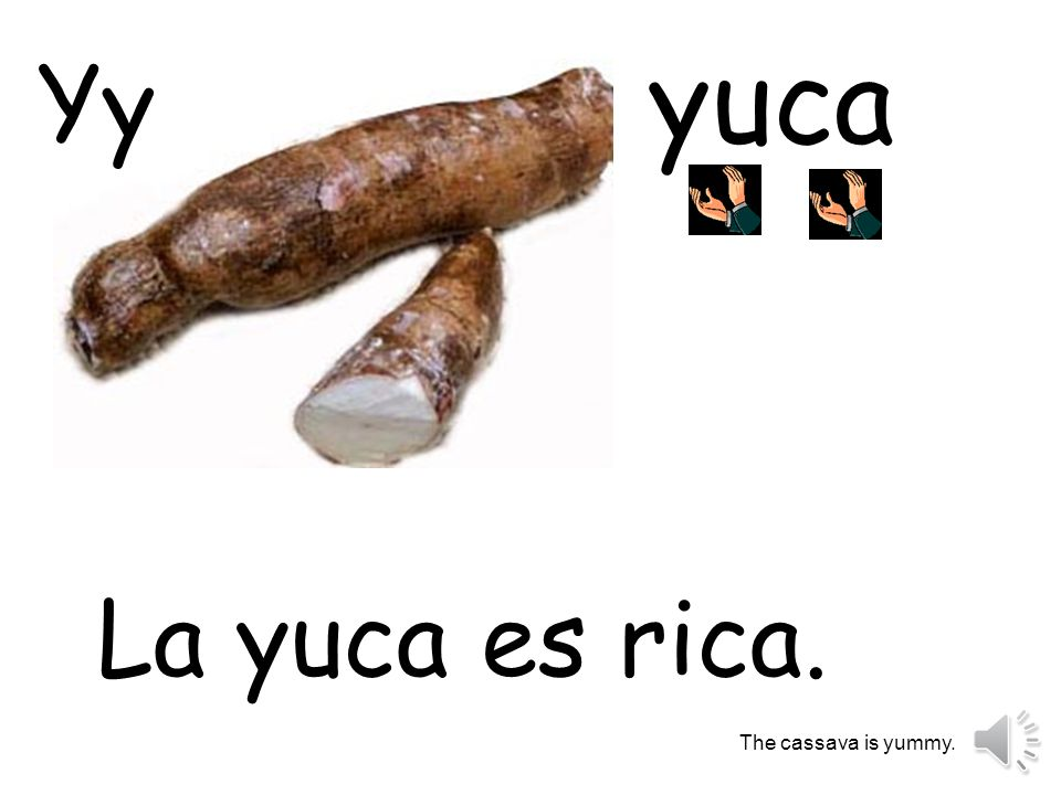 yuca Yy La yuca es rica. The cassava is yummy.