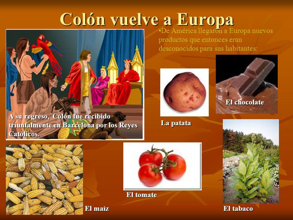 Colón vuelve a Europa De América llegaron a Europa nuevos productos que entonces eran desconocidos para sus habitantes: