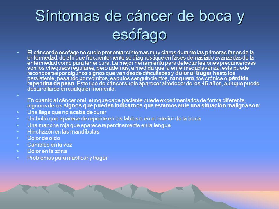 Síntomas de cáncer de boca y esófago