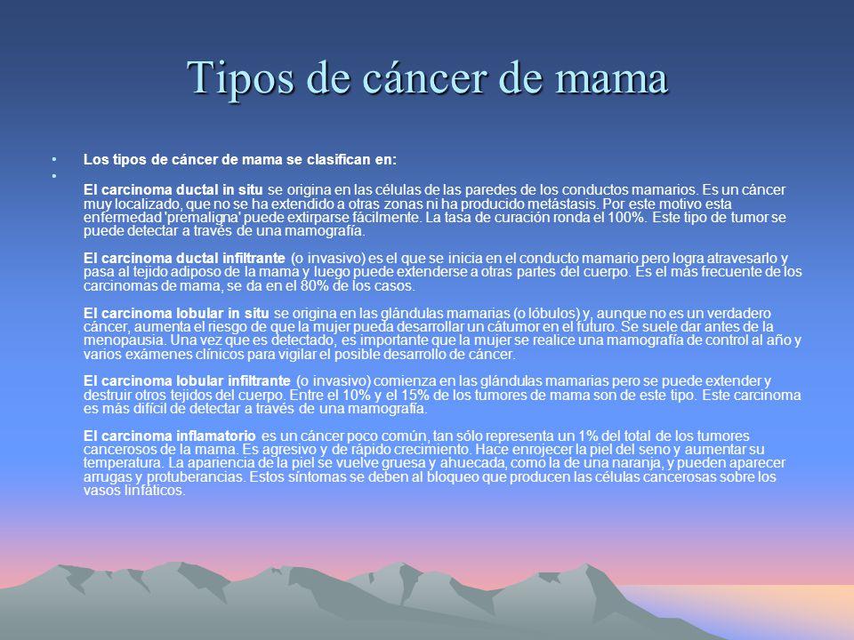 Tipos de cáncer de mama Los tipos de cáncer de mama se clasifican en: