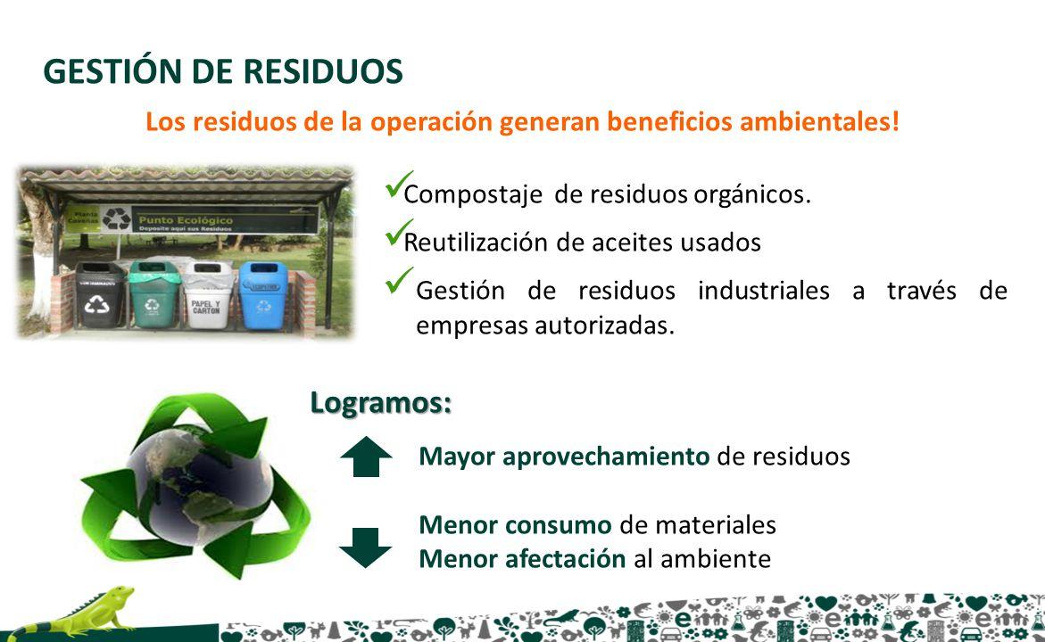 Los residuos de la operación generan beneficios ambientales!