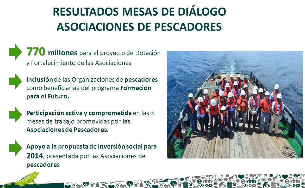 RESULTADOS MESAS DE DIÁLOGO ASOCIACIONES DE PESCADORES