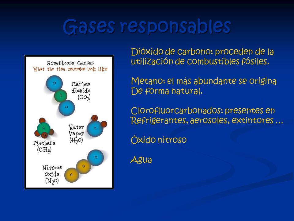 Gases responsables Dióxido de carbono: proceden de la