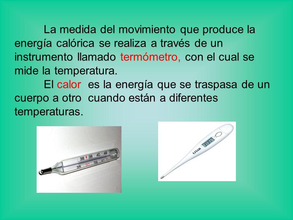 La medida del movimiento que produce la energía calórica se realiza a través de un instrumento llamado termómetro, con el cual se mide la temperatura.