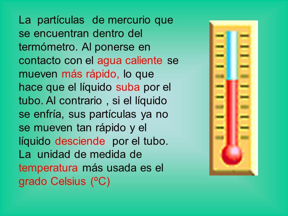 La partículas de mercurio que se encuentran dentro del termómetro