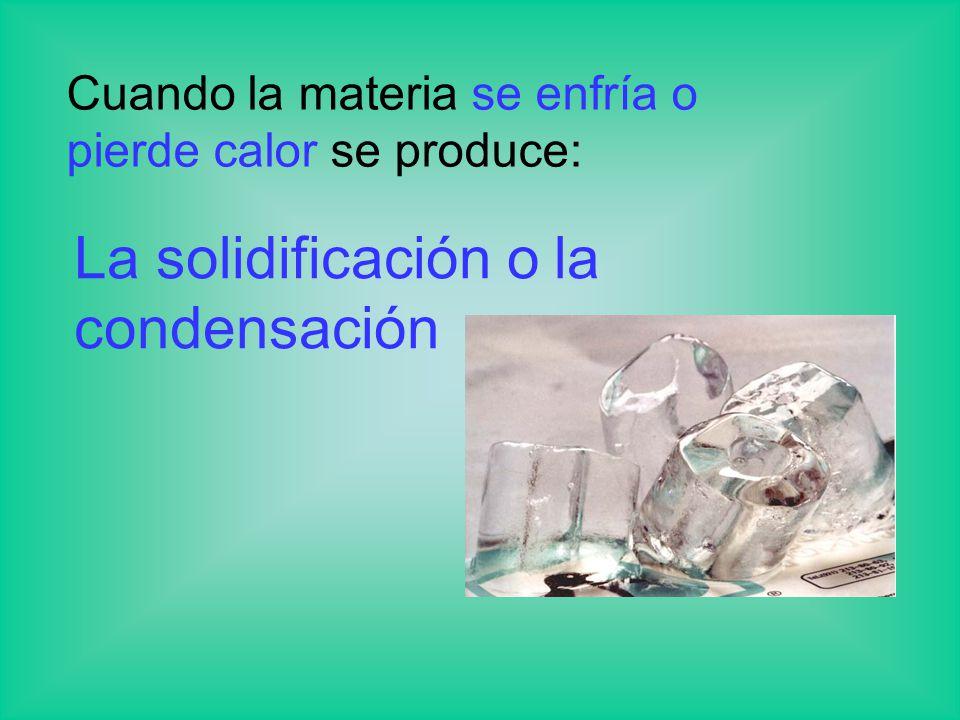 La solidificación o la condensación