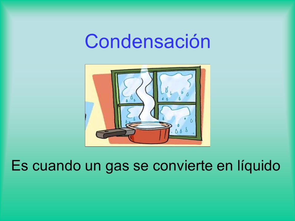 Condensación Es cuando un gas se convierte en líquido