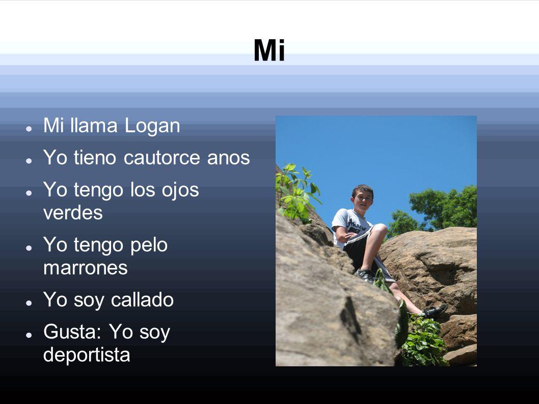 Mi Mi llama Logan Yo tieno cautorce anos Yo tengo los ojos verdes