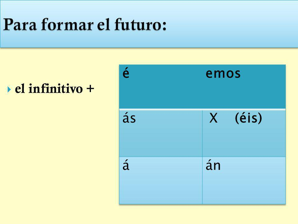 Para formar el futuro: el infinitivo + é emos ás X (éis) á án