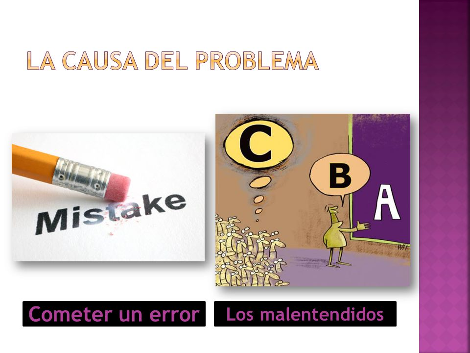 La causa del problema Cometer un error Los malentendidos