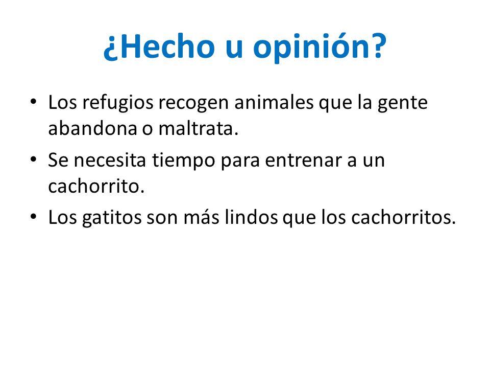 ¿Hecho u opinión Los refugios recogen animales que la gente abandona o maltrata. Se necesita tiempo para entrenar a un cachorrito.