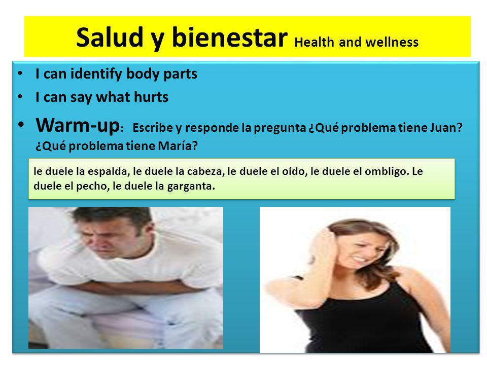 Salud y bienestar Health and wellness