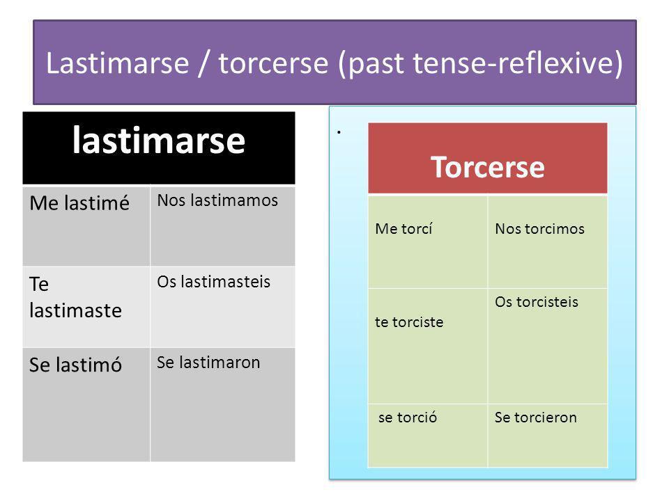 Lastimarse / torcerse (past tense-reflexive)