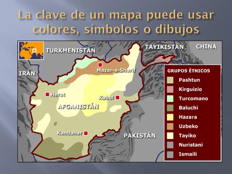 La clave de un mapa puede usar colores, símbolos o dibujos