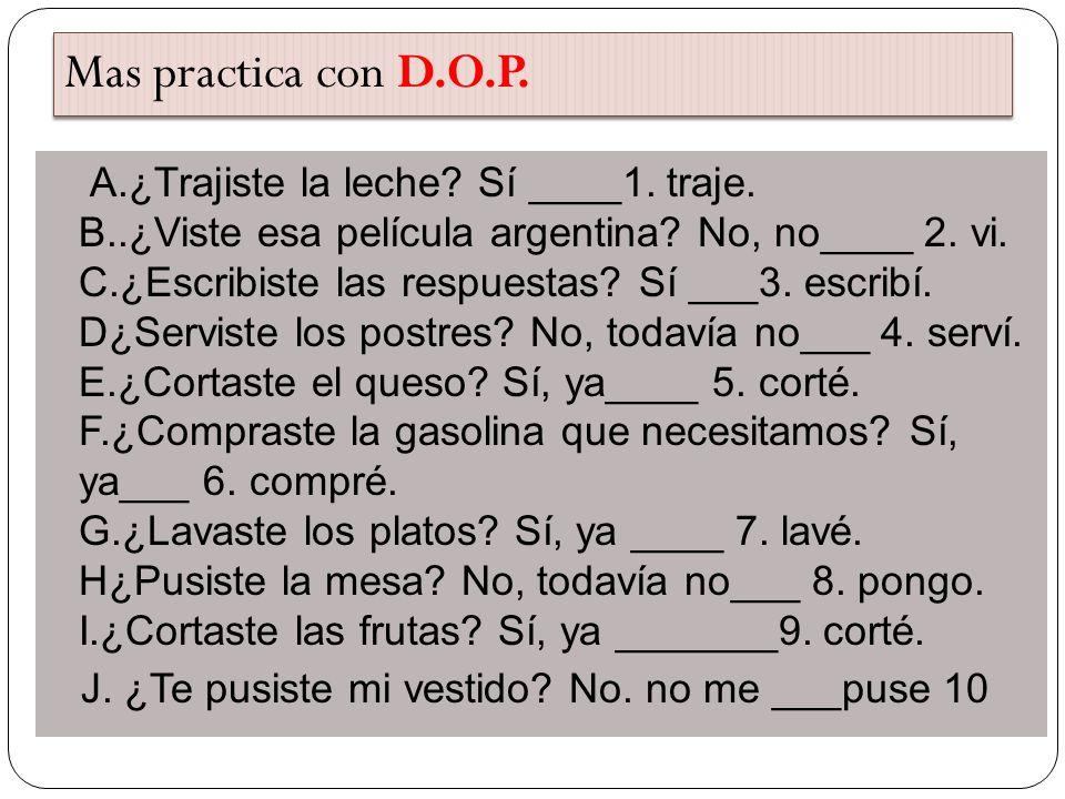 Mas practica con D.O.P.
