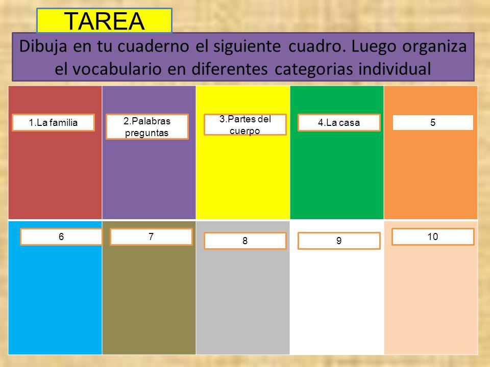 TAREA Dibuja en tu cuaderno el siguiente cuadro. Luego organiza el vocabulario en diferentes categorias individual.