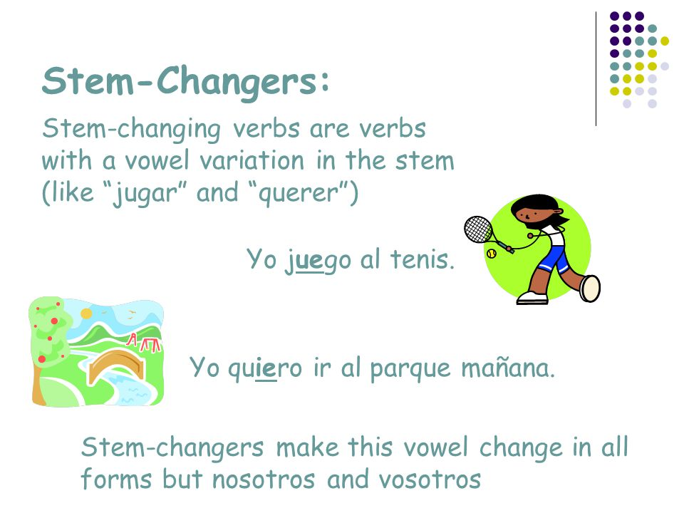 Stem-Changers: Stem-changing verbs are verbs