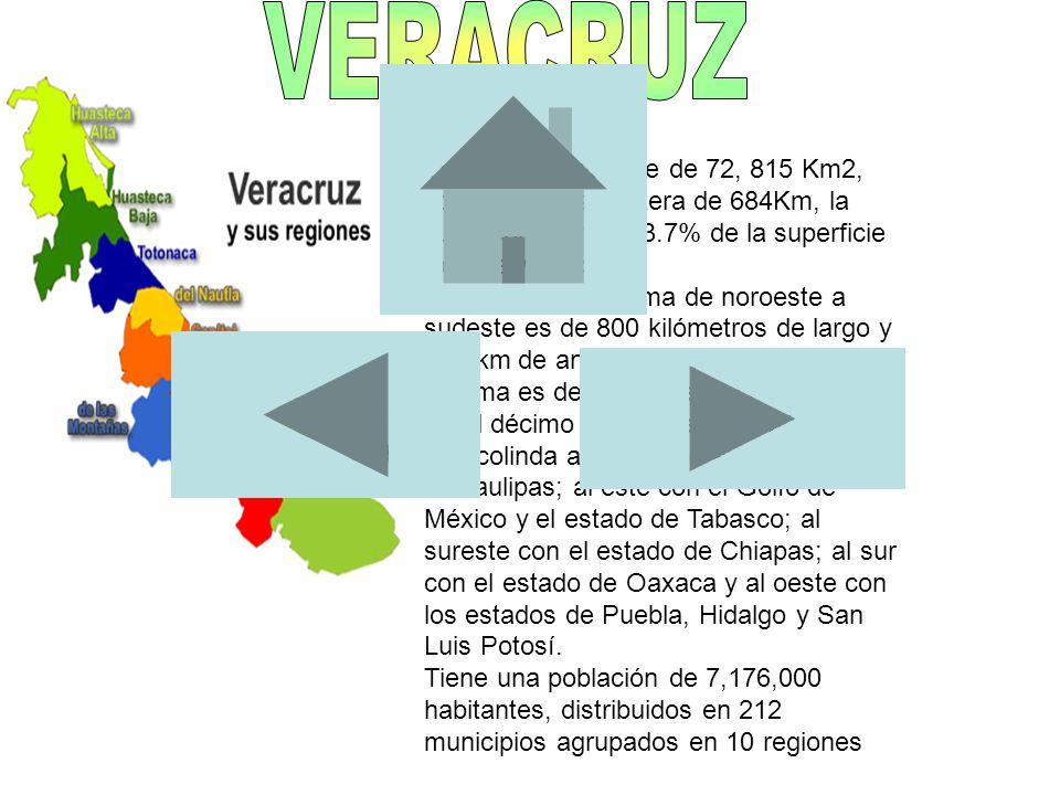 VERACRUZ Tiene una superficie de 72, 815 Km2, con una franja costera de 684Km, la cual representa el 3.7% de la superficie total de México.