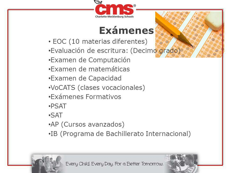 Exámenes EOC (10 materias diferentes)