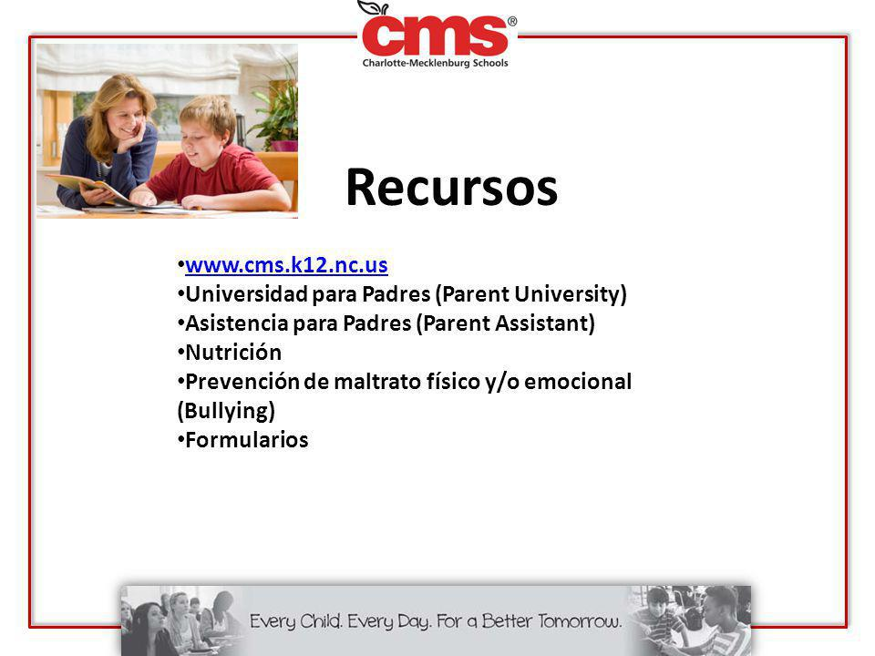 Recursos www.cms.k12.nc.us Universidad para Padres (Parent University)