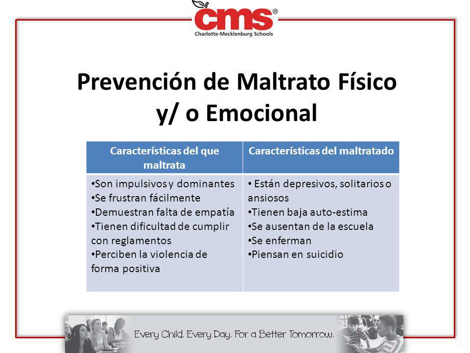 Prevención de Maltrato Físico y/ o Emocional