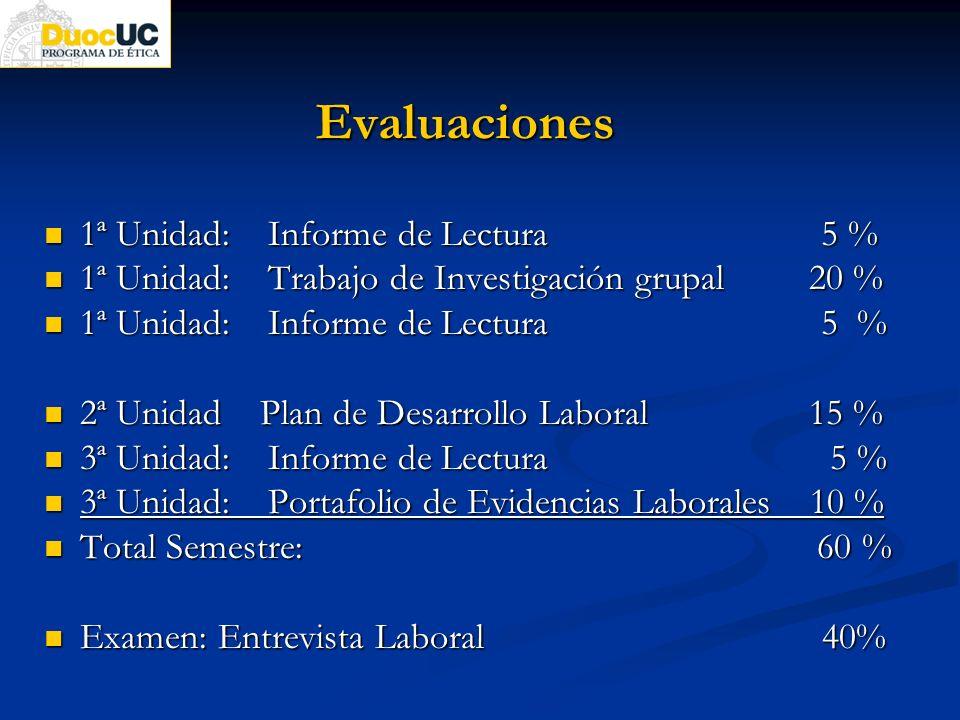 Evaluaciones 1ª Unidad: Informe de Lectura 5 %