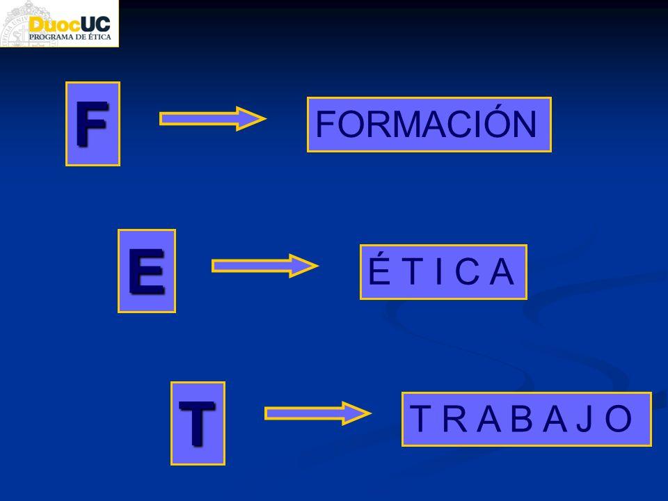 F FORMACIÓN E É T I C A T T R A B A J O