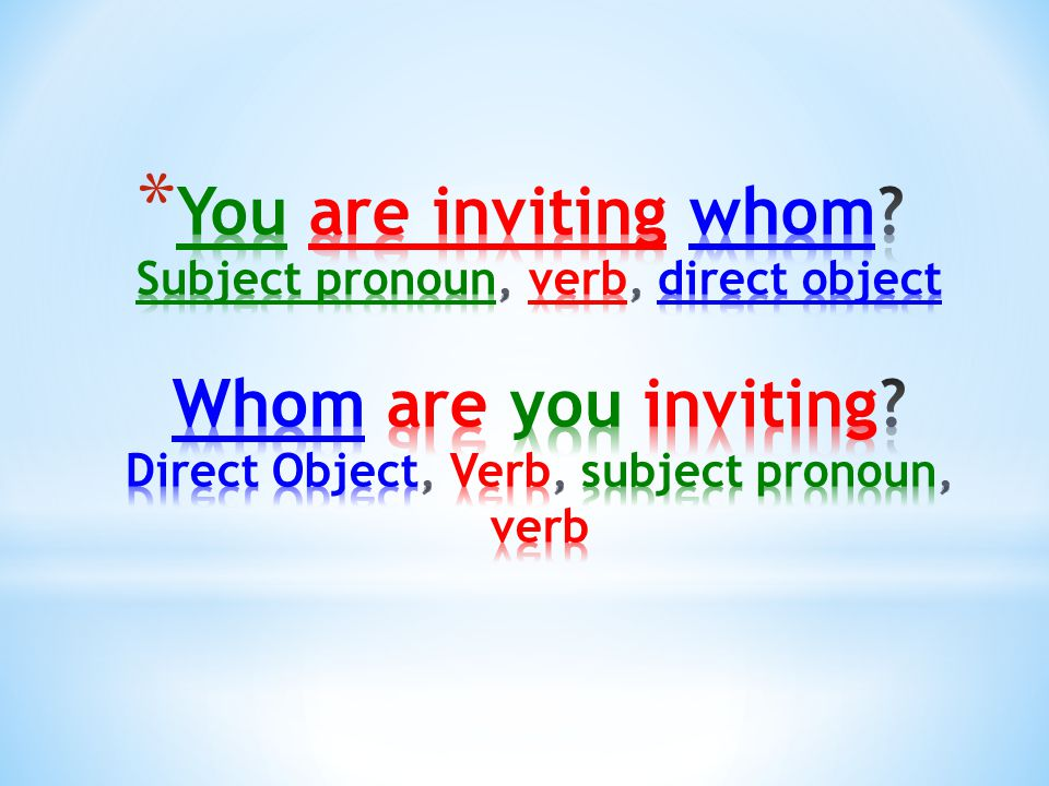 You are inviting whom. Subject pronoun, verb, direct object Whom are you inviting.