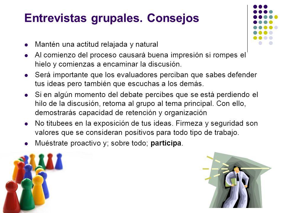Entrevistas grupales. Consejos