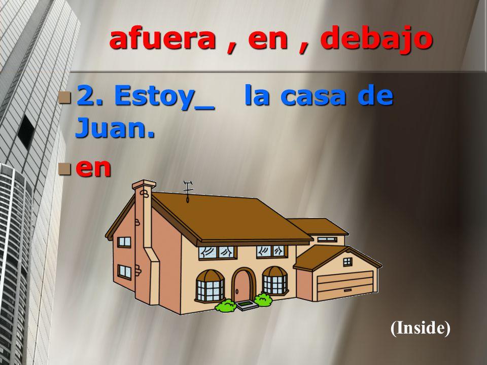 afuera , en , debajo 2. Estoy_ la casa de Juan. en (Inside)