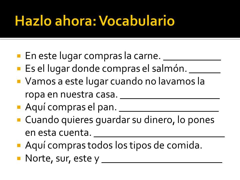Hazlo ahora: Vocabulario