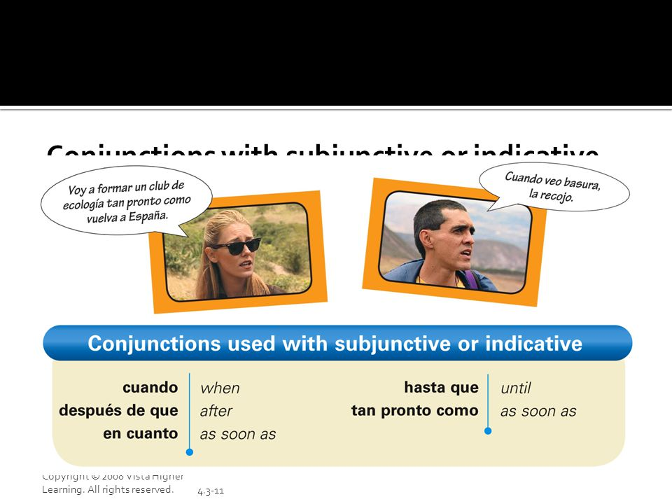 Conjunctions with subjunctive or indicative