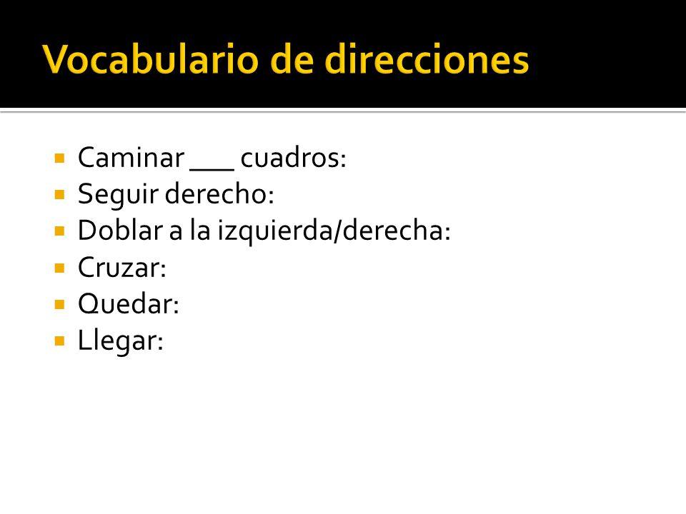 Vocabulario de direcciones