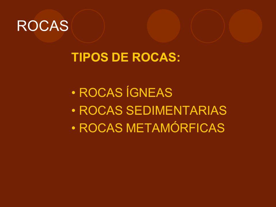 ROCAS TIPOS DE ROCAS: • ROCAS ÍGNEAS • ROCAS SEDIMENTARIAS
