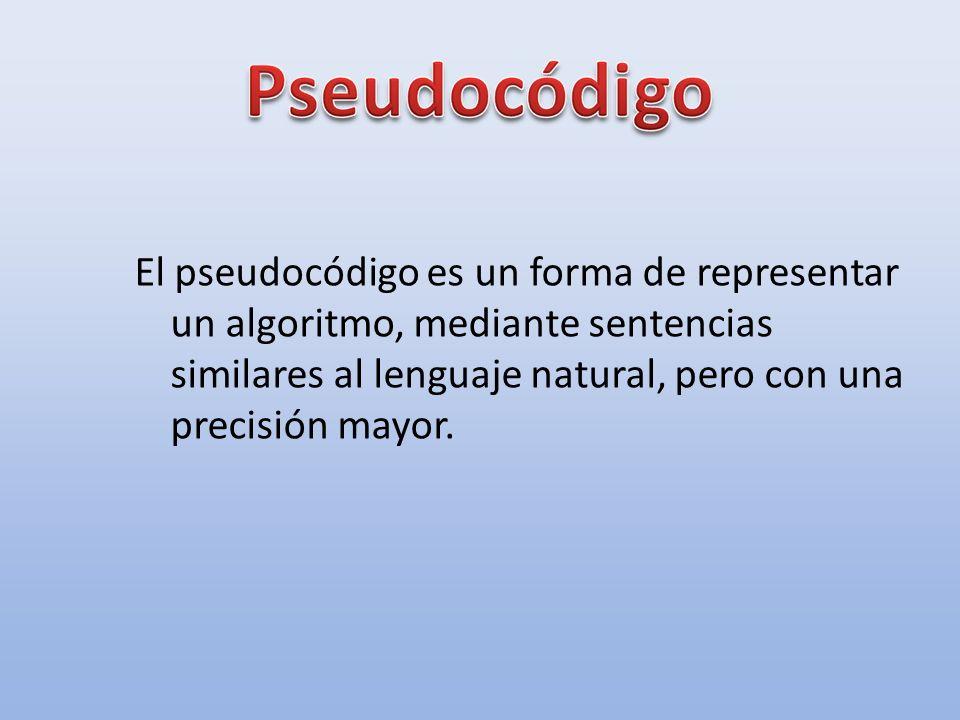 El pseudocódigo es un forma de representar un algoritmo, mediante sentencias similares al lenguaje natural, pero con una precisión mayor.