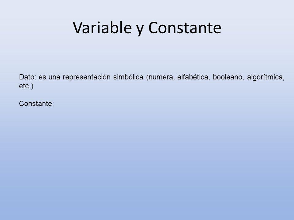 Variable y Constante Dato: es una representación simbólica (numera, alfabética, booleano, algorítmica, etc.)