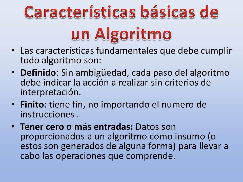 Las características fundamentales que debe cumplir todo algoritmo son: