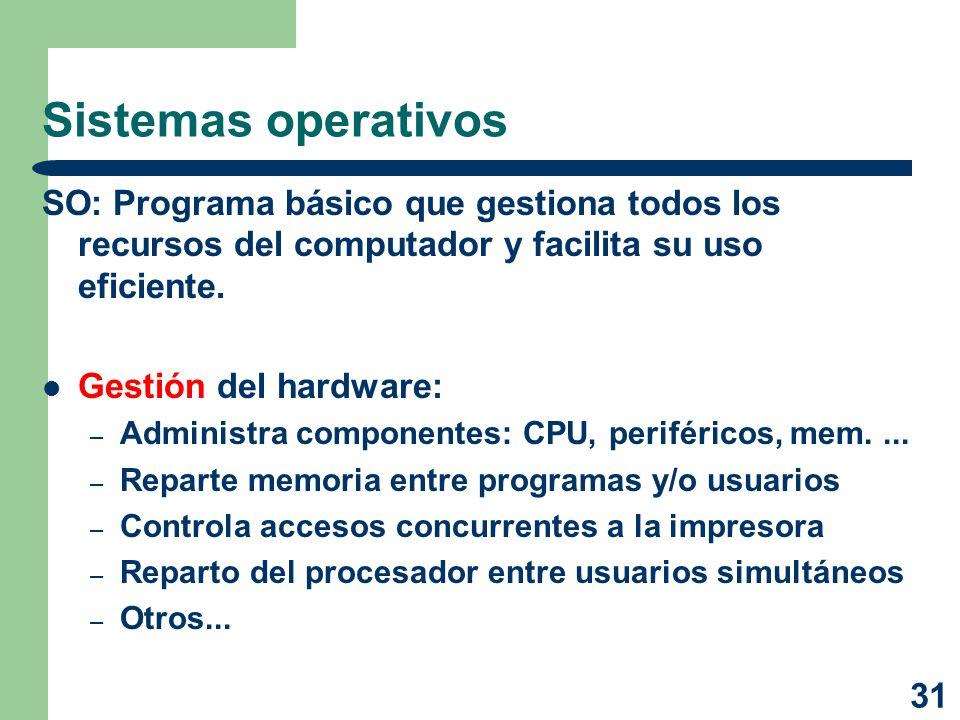 Sistemas operativos SO: Programa básico que gestiona todos los recursos del computador y facilita su uso eficiente.