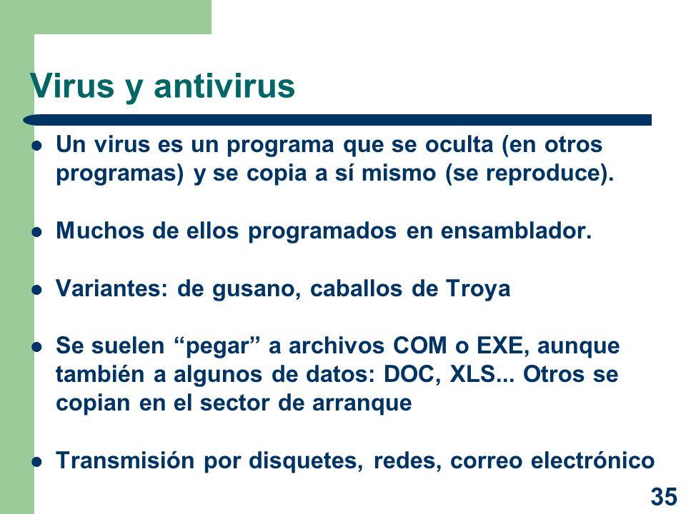 Virus y antivirus Un virus es un programa que se oculta (en otros programas) y se copia a sí mismo (se reproduce).