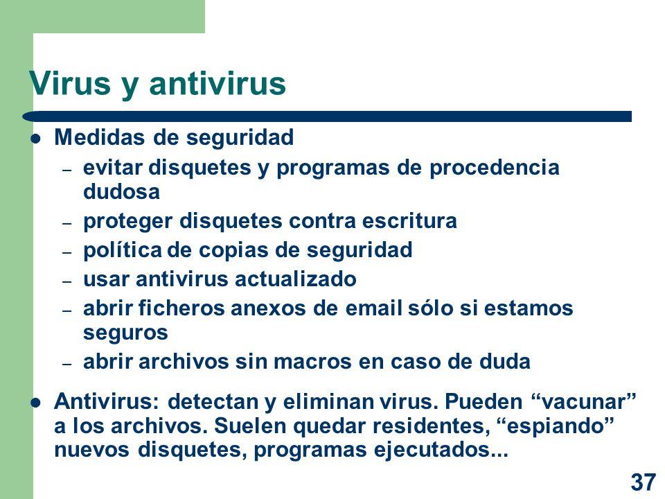 Virus y antivirus Medidas de seguridad