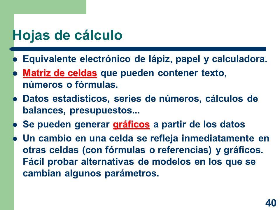 Hojas de cálculo Equivalente electrónico de lápiz, papel y calculadora. Matriz de celdas que pueden contener texto, números o fórmulas.