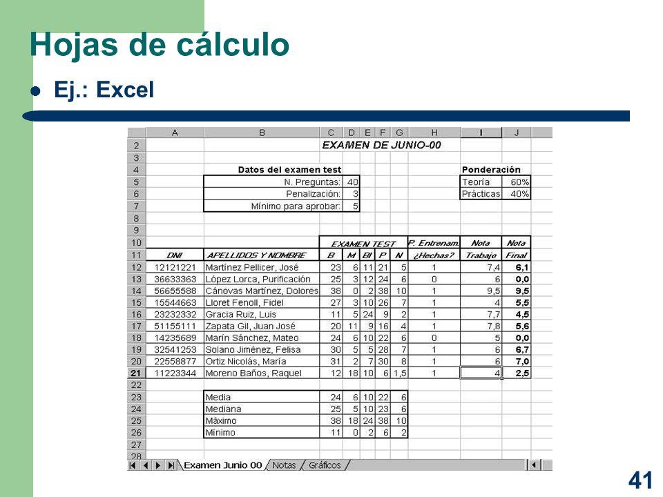 Hojas de cálculo Ej.: Excel