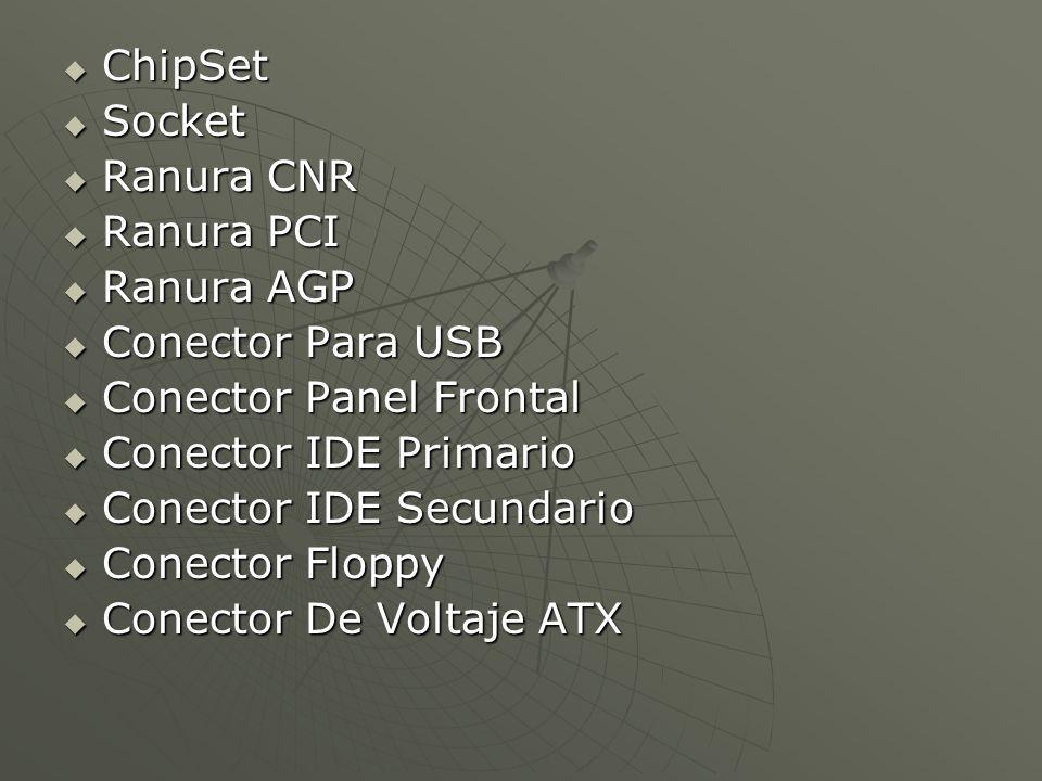 ChipSet Socket. Ranura CNR. Ranura PCI. Ranura AGP. Conector Para USB. Conector Panel Frontal.