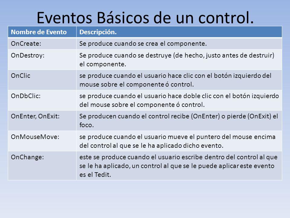 Eventos Básicos de un control.