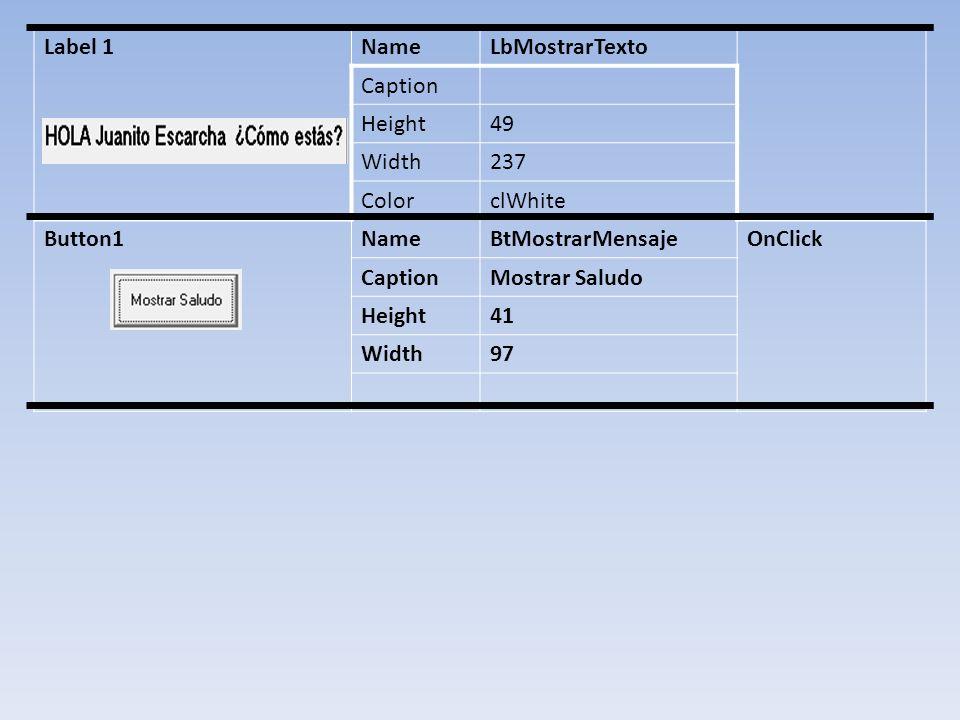 Label 1 Name. LbMostrarTexto. Caption. Height. 49. Width. 237. Color. clWhite. Button1. BtMostrarMensaje.
